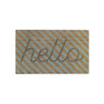 Hello Stripe Coir Doormat Mint